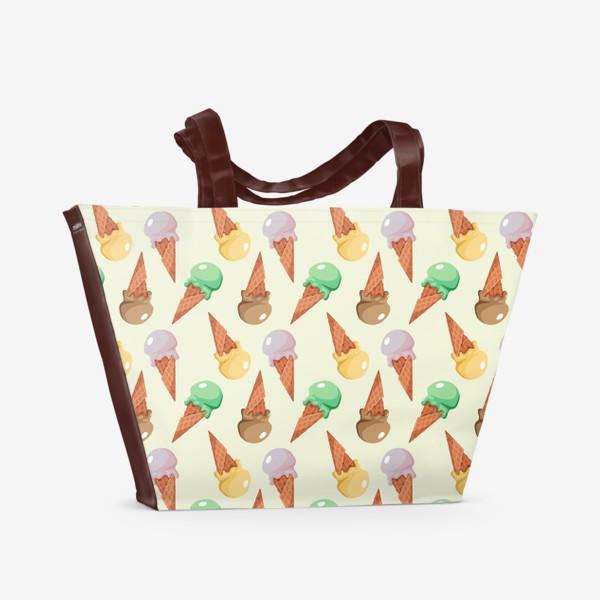 Пляжная сумка «Seamless pattern with ice cream.»