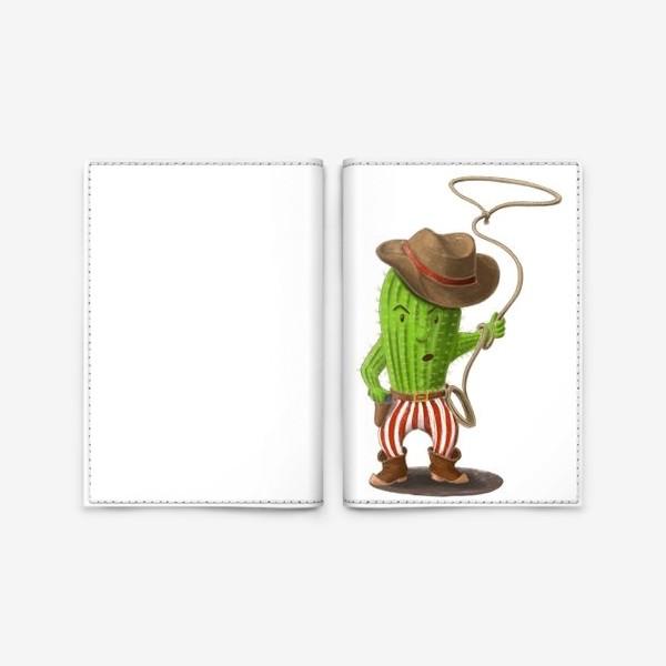 Обложка для паспорта «Кактус ковбой»