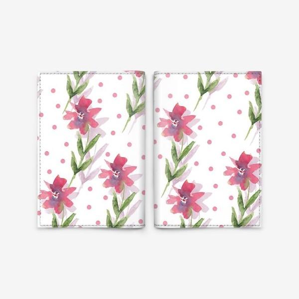 Обложка для паспорта «Паттерн из весенних розовых цветов»