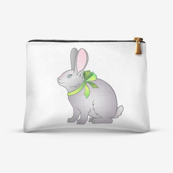 Косметичка «Милый серый кролик с бантом на шее»