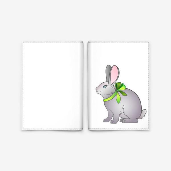 Обложка для паспорта «Милый серый кролик с бантом на шее»