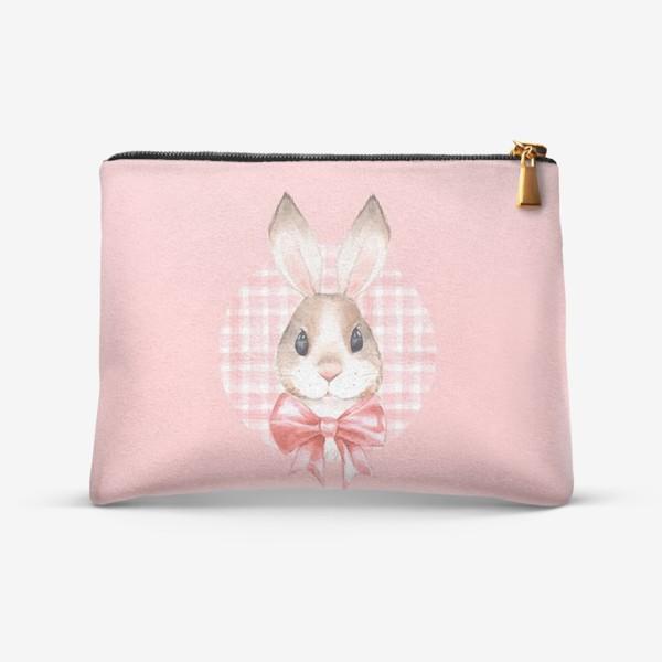 Косметичка «Кролик с розовым бантом. Акварель»