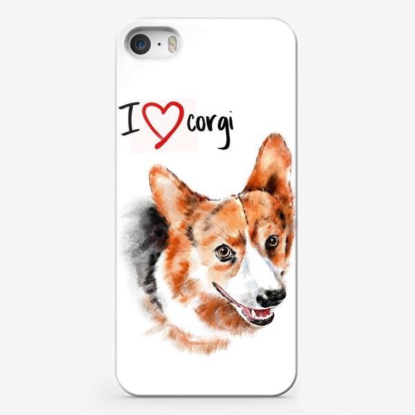 Чехол iPhone «Я люблю корги. I love corgi»