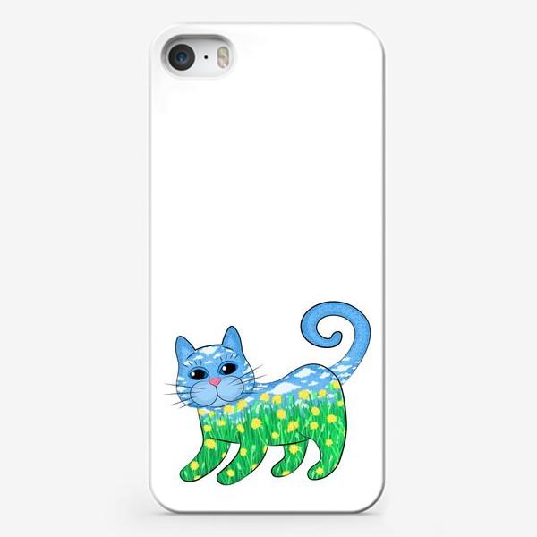 Чехол iPhone «Летний кот в цветах»