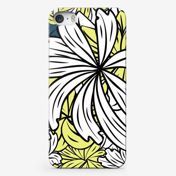 Чехол iPhone «pattern with flowers and leaves»