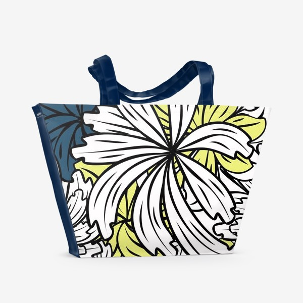 Пляжная сумка «pattern with flowers and leaves»