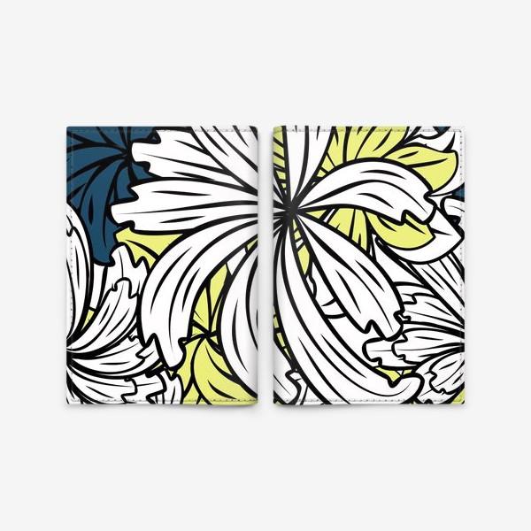 Обложка для паспорта «pattern with flowers and leaves»