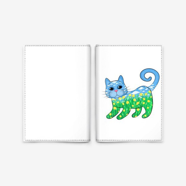 Обложка для паспорта «Летний кот в цветах»