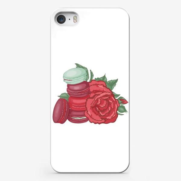 Чехол iPhone «Макаруны и розы»