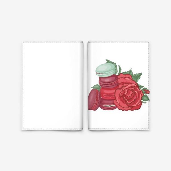 Обложка для паспорта «Макаруны и розы»