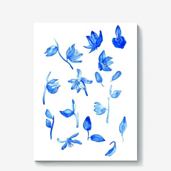Холст «Паттерн Синие Цветы»
