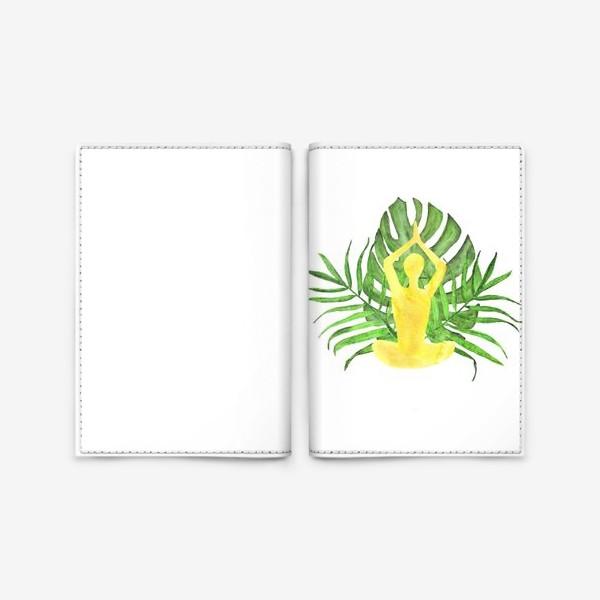 Обложка для паспорта «йога, медитация, поза лотоса, тропические листья. подарок для любителей йоги»