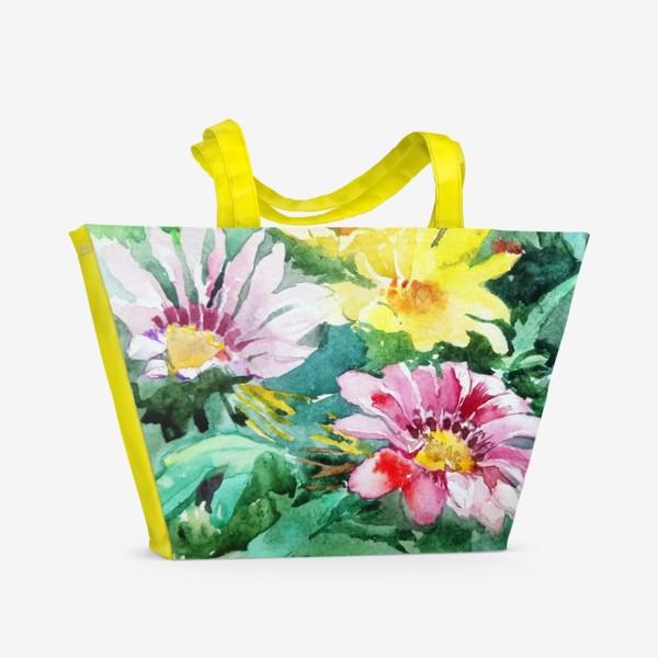 Пляжная сумка «Цветение радости, цветы, подарок женщине»
