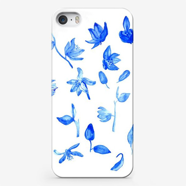 Чехол iPhone «Паттерн Синие Цветы»