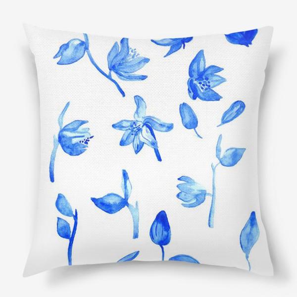Подушка «Паттерн Синие Цветы»