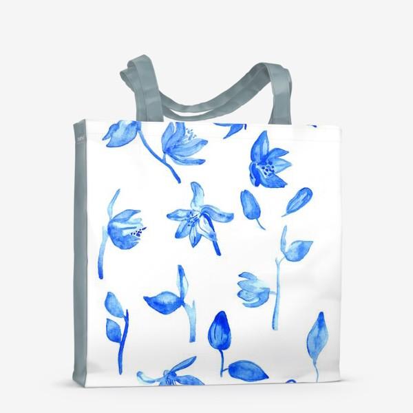 Сумка-шоппер «Паттерн Синие Цветы»
