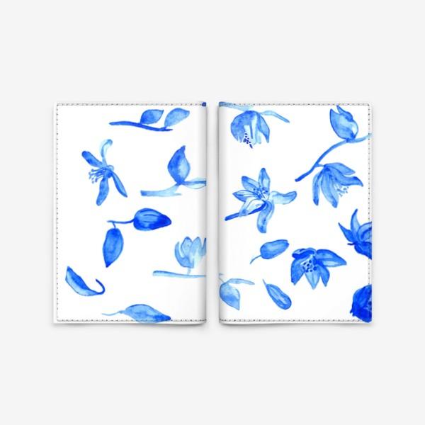 Обложка для паспорта «Паттерн Синие Цветы»