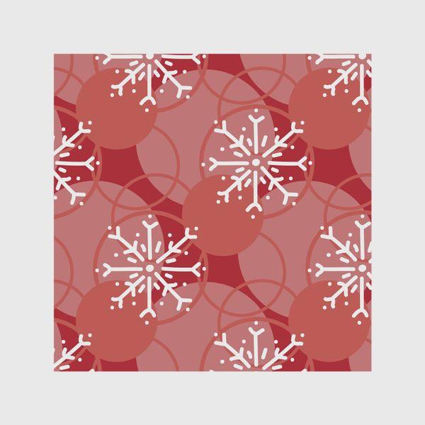 Шторы «Снежинки на красном фоне»