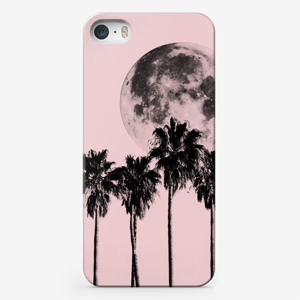 Чехол iPhone «Пальмы и луна на розовом фоне»