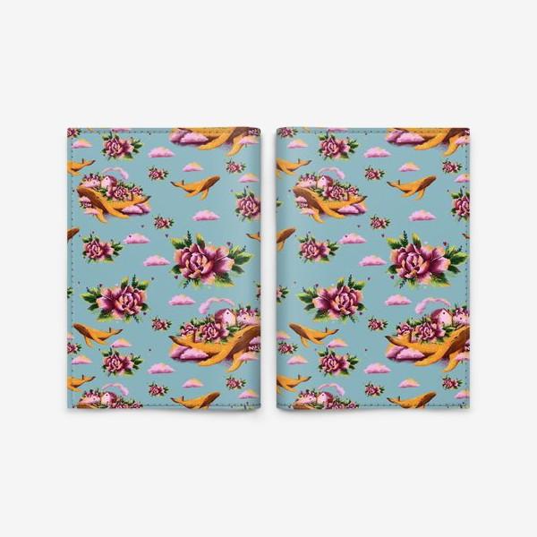 Обложка для паспорта «Кит в цветах»
