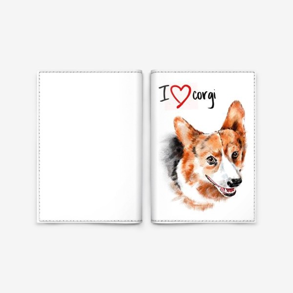 Обложка для паспорта «Я люблю корги. I love corgi»