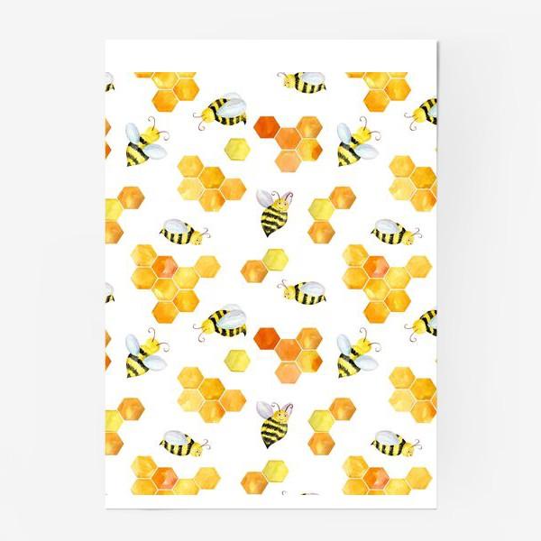 Постер «Безшовный акварельный паттерн с сотами и пчелами»
