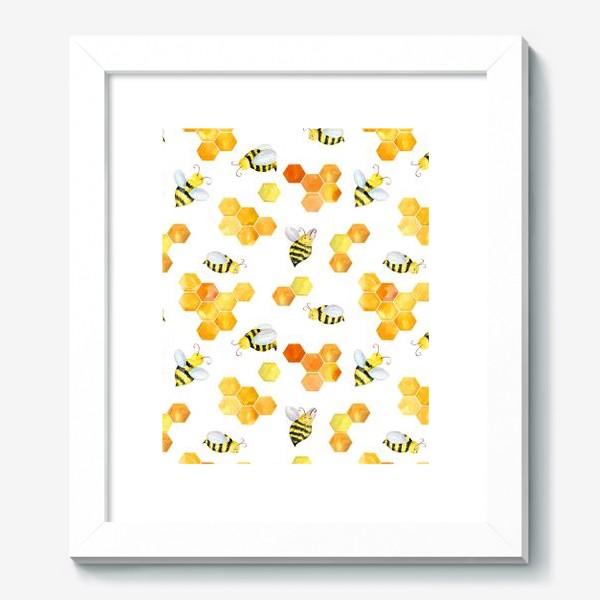 Картина «Безшовный акварельный паттерн с сотами и пчелами»