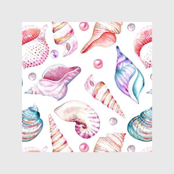 Шторы «Безшовный акварельный паттерн с морской темой, кораллами и жемчужинами»