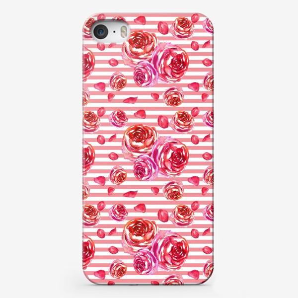 Чехол iPhone «Безшовный акварельный паттерн с нежными розами и лепестками»