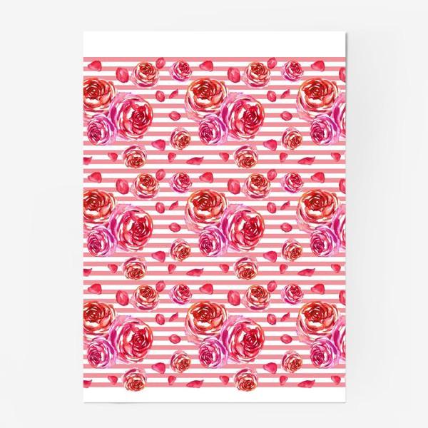 Постер «Безшовный акварельный паттерн с нежными розами и лепестками»