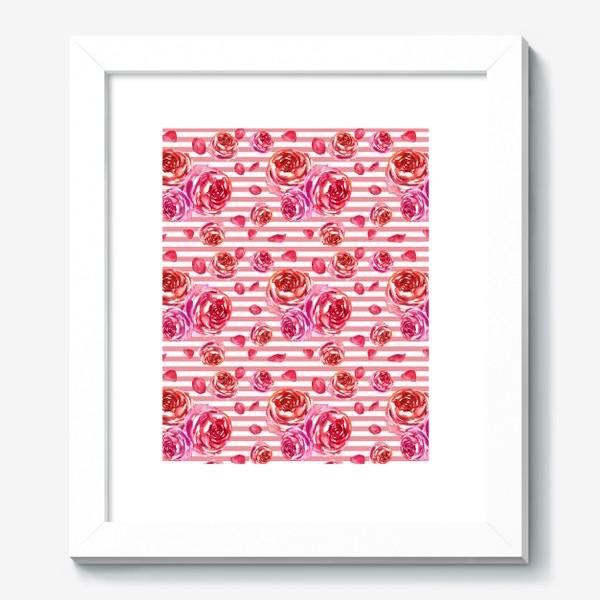 Картина «Безшовный акварельный паттерн с нежными розами и лепестками»