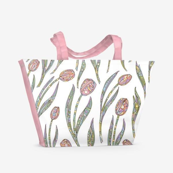 Пляжная сумка «Тюльпаны с орнаментом»