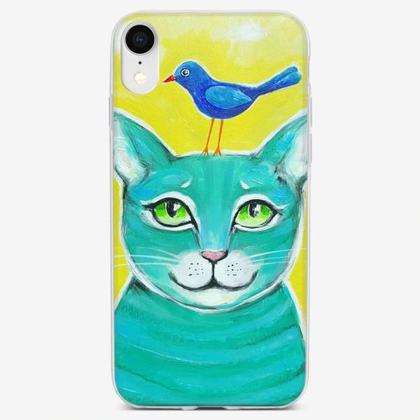 Чехол iPhone «Кот и птичка»