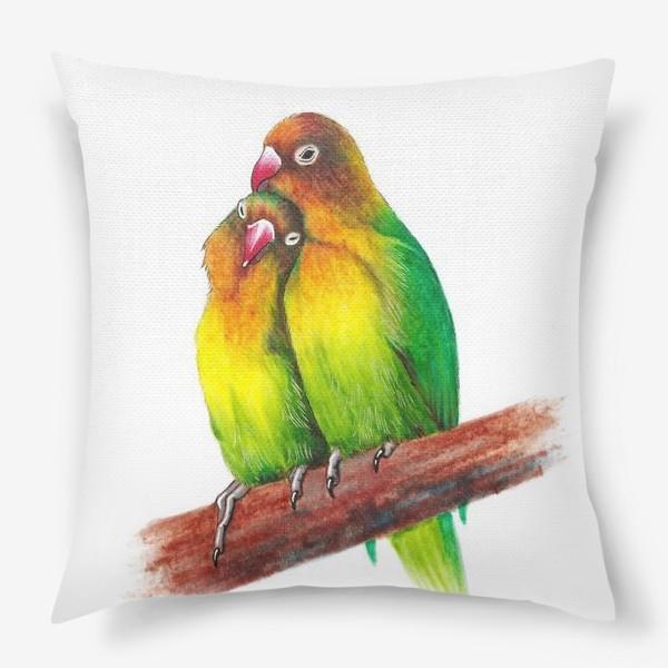 Подушка «Попугаи-неразлучники»