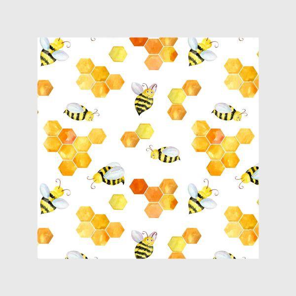 Шторы «Безшовный акварельный паттерн с сотами и пчелами»