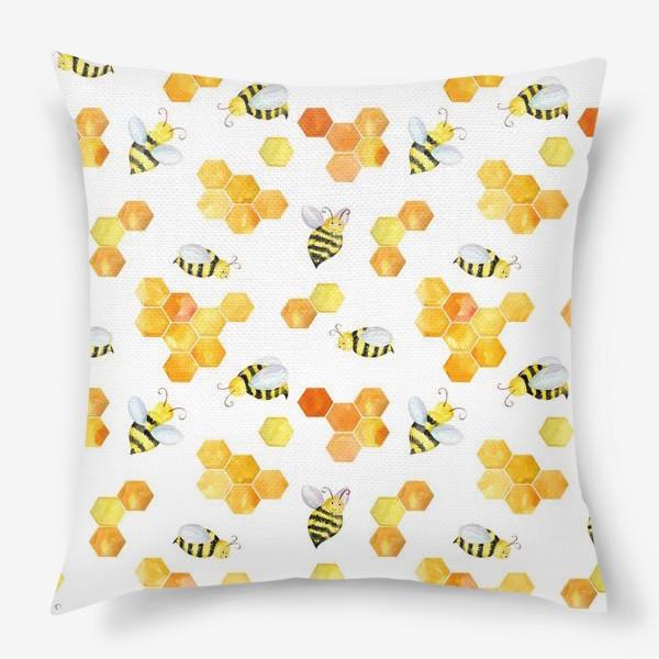 Подушка «Безшовный акварельный паттерн с сотами и пчелами»