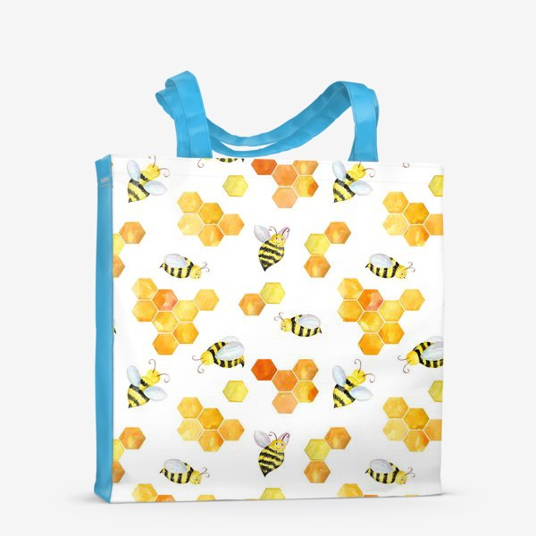 Сумка-шоппер «Безшовный акварельный паттерн с сотами и пчелами»