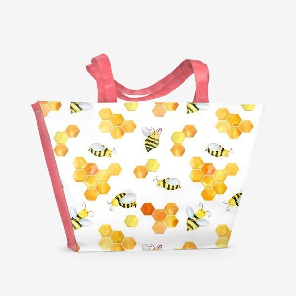 Пляжная сумка «Безшовный акварельный паттерн с сотами и пчелами»