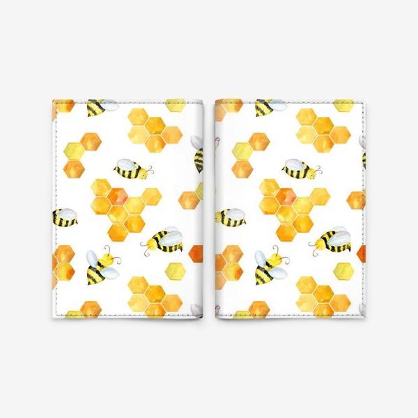 Обложка для паспорта «Безшовный акварельный паттерн с сотами и пчелами»