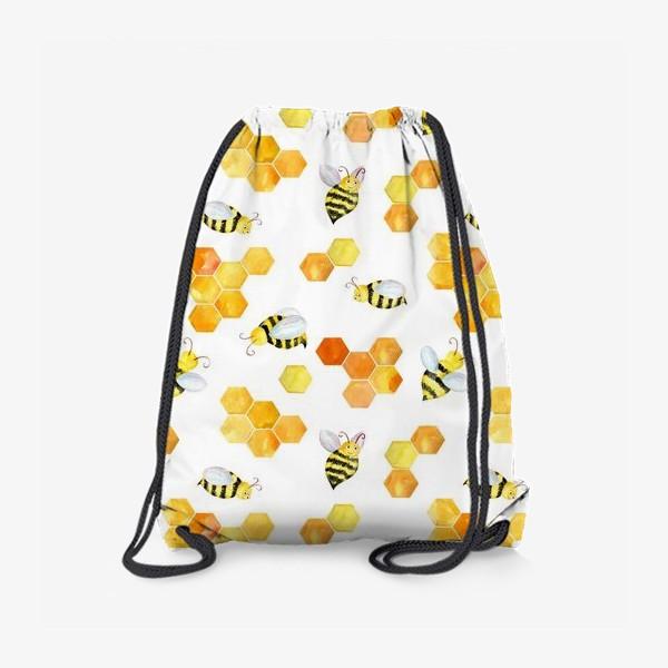 Рюкзак «Безшовный акварельный паттерн с сотами и пчелами»
