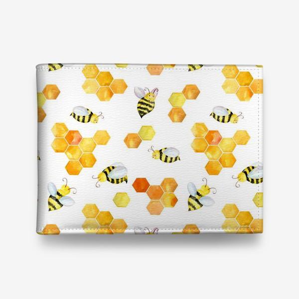 Кошелек «Безшовный акварельный паттерн с сотами и пчелами»