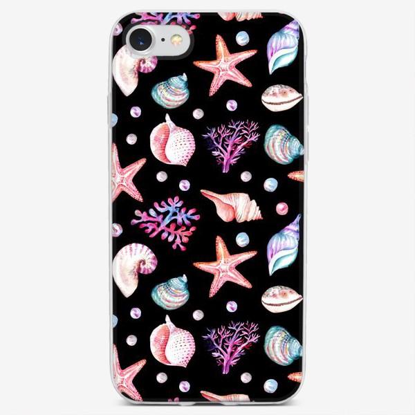 Чехол iPhone «Безшовный акварельный  темный паттерн с морской темой, кораллами и жемчужинами»