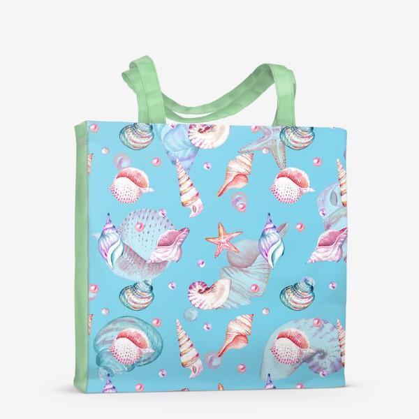 Сумка-шоппер «Безшовный акварельный паттерн с морской темой, кораллами и жемчужинами»