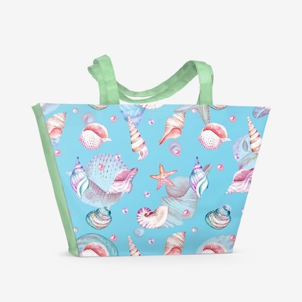 Пляжная сумка «Безшовный акварельный паттерн с морской темой, кораллами и жемчужинами»