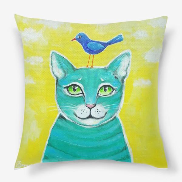 Подушка «Кот и птичка»