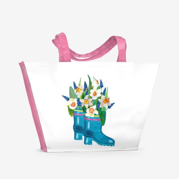 Пляжная сумка «Весенние нарциссы в резиновых сапогах»