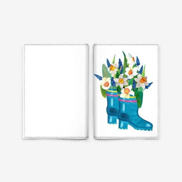 Обложка для паспорта «Весенние нарциссы в резиновых сапогах»