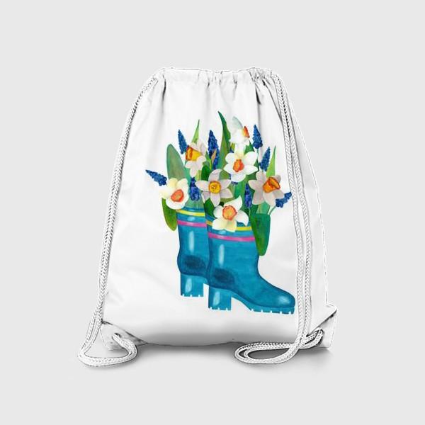 Рюкзак «Весенние нарциссы в резиновых сапогах»