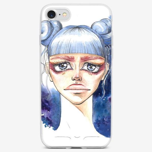 Чехол iPhone «Девушка с голубыми волосами»
