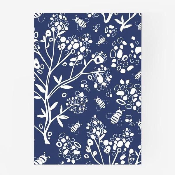 Постер «Дерево и пчелы на синем фоне, узор. »